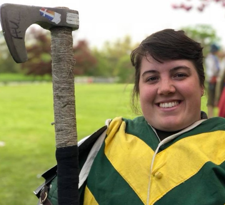 """I have a love for history and costuming, which I have developed from LARP. But my addiction for sports, like Rugby, and the rush you get from working in a team is what I live for. HMB and Buhurt is the perfect combination for these things."""