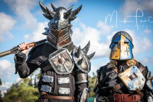 Two guests in armoured medieval costumes at Winterfest