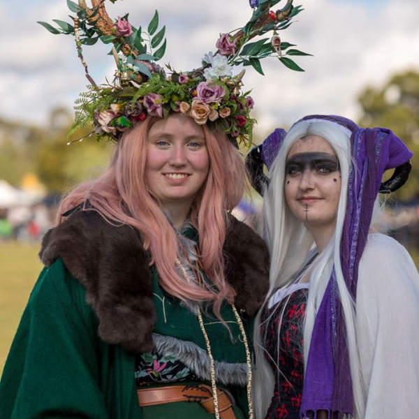 Two women in fantasy costumes