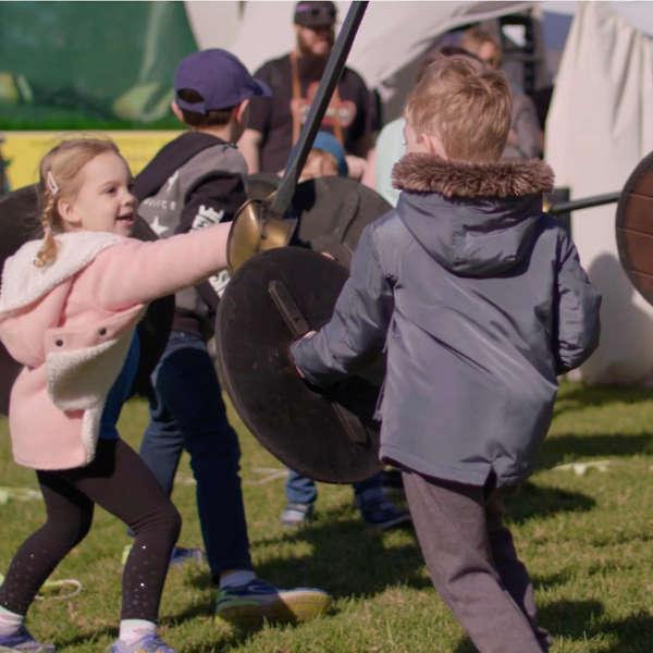 Children participating in the Winterfest Knights School